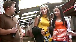Two cock-hungry girls are blowing off two complete strangers