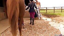 Two Teens Public Sex Fun on Horse Farm with Big Dick Guys