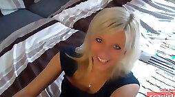 Cute blonde cum on her feet