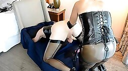 Crossdresser in Latex Double Anal Fisted and Pegged by