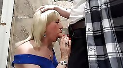 TGirl Pauline gagging on Mikes cock in the club toilets.... AGAIN !!!