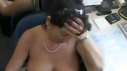Bosomy amateur sex Mommy suck and fucks with facial