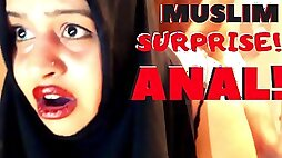 Big ass hijab woman punished with anal
