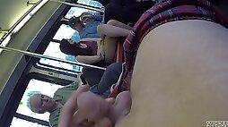 Captivating cowgirl smashed hardcore in public bus