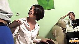 Interracial cuckold porn video with sexy brunette MILF