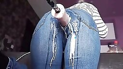 Mother Takes Machine Dick through her Jeans to Intense Creaming Orgasms