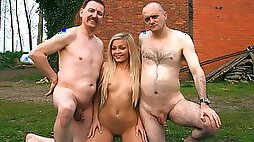 Lovely Jenna Lovely getting fucked by two gross old dudes