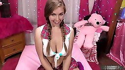 BIG-BOOBED STEP STEPDAUGHTER LENA PAUL IS NOSEY ABOUT HER DADDYS FUCKTOYS