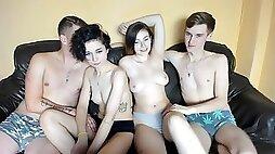 Nasty Teen Couples Foursome Webcam Show