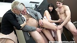Foursome fucking with old and young couple with cum on tits