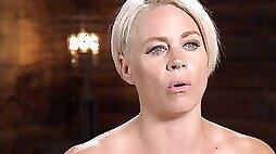 Short haired submissive blonde Helena Locke gets abused hardcore