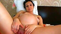 Mila Pregnant Romanian FUCKING HUGE!!! 1 Hour Skype Show Webcam