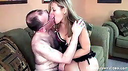 Ugly old guy gets to shag a super-hot and big-titted milf
