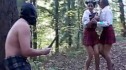 Masked peeping tom caught converted into a slave & humiliated in the woods