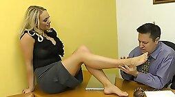 Footjob In Office