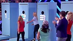 Mystery tongue kissing game show