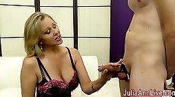 Milf Julia Ann Makes Slave Cum on Her Stockings from FootJob