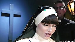 A brutal corporal punishment for shemale nun