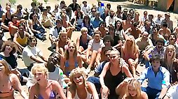 Hippie community with public nudity, lesbian and group sex