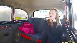 Horny Linda Sweet enjoys hard sex with a stranger in the taxi