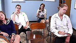 Schoolgirl Dillion Harper gets spanked & fucked after squirting all over the class