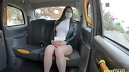 Hardcore fucking in the back of the taxi with attractive babe Mia Rose