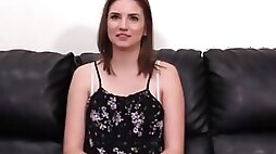 BACKROOM CASTING COUCH - Young debutante Chloe creamed by big cock riding and blowjob