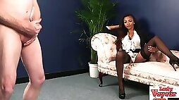 Stunning ebony brit humiliates cfnm loser