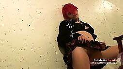 Halloween collared emo punk girl upskirt schoolgirl costume fingering in hotel stairwell
