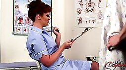 Sexy redhead Zoe Page teases and gives JOI as nurse in CFNM session