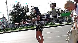 Admiring upskirt of high heeled babe