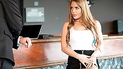 Glamorous angel Alessandra Jane orally fucked in the office