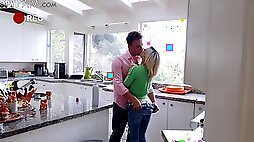 Deep sex on the kitchen table for sweet Kiara Cole - Hidden cam Porn