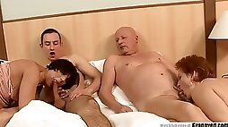 Two old gilfs having an opportunity to fuck dad and son