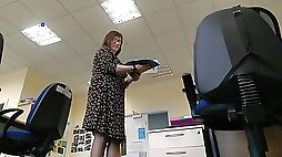 Teachers Legs 2 - spying on mature lady in the classroom