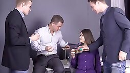 Slutty office lady is getting gangbanged on her first working day and enjoying it so much