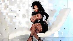 Brunette big tits and Fishnets Latex dress