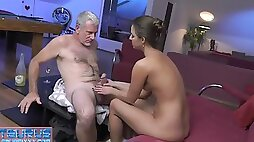 Young slut with small boobies enjoys fucking with white mature dude