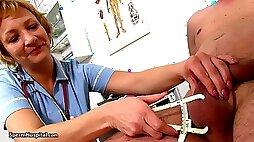 Mature nurse touches my huge balls