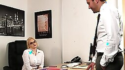 Aroused MILF strips at the office for a bit of naughty sex