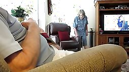 Horny Old guy masturbates and cums while granny watches