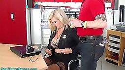 Wild huge breasted warehouse secretary Marina Montana is fucked by studs