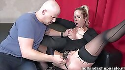 Slutty-looking Skank from Holland squirts - big fake tits with pierced nipples