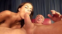 Sizzling Young Hussy Sucks A Monstrous Dick Of Old Daddy