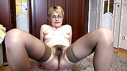 Badd Gramma strips naked on her black couch - Compilation - WeAreHairy