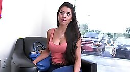 Colombian milf Soffie sucks a sex doll while getting fucked by a real bone