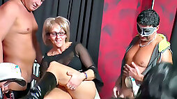 Naughty mature moms fuck at the dirty swinger party