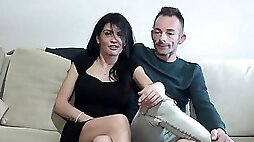 Kinky brunette housewife is having her first hardcore casting couch