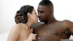 An impeccable interracial with the hairy cunt babe constantly asking for sperm