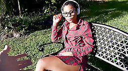 Ebony nerd Arie lets a white guy facefuck & pound her pussy outdoors for cash